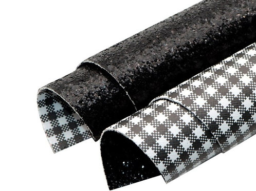 Double Sided Plaid and Black Glitter Leather Sheets