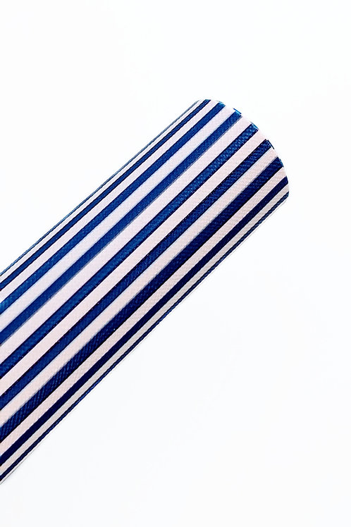 Blue and White Stripes Faux Leather Sheets