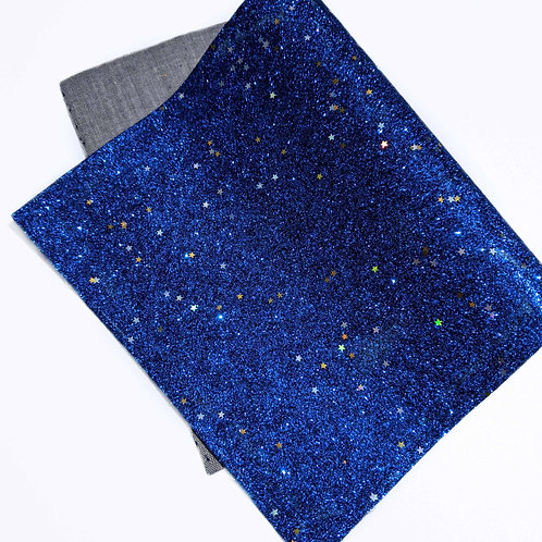 Blue Glitter Gold Stars Faux Leather Fabric Sheets