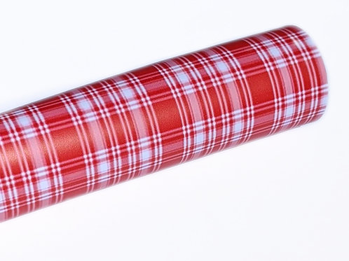 Red and White Plaid Print Faux Leather Sheets