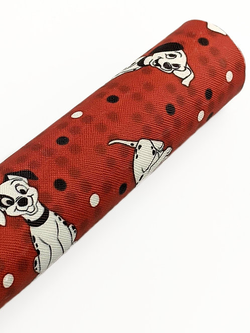 Dalmatians Red background Faux Leather Sheets