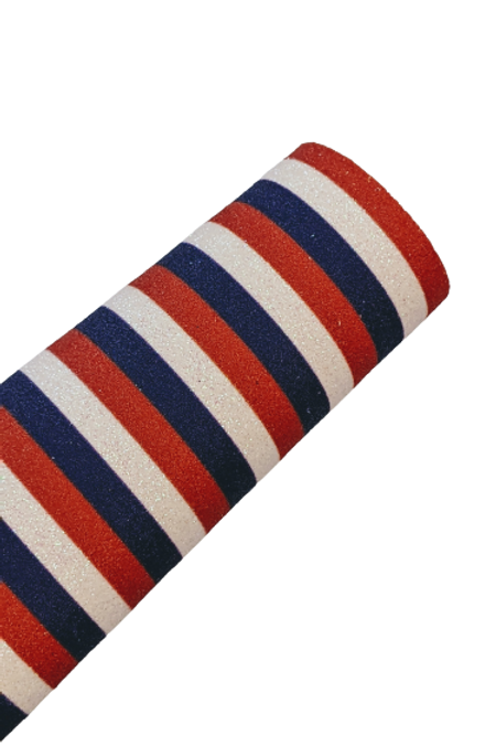 Red White and Blue Fine Glitter Faux Leather Sheet