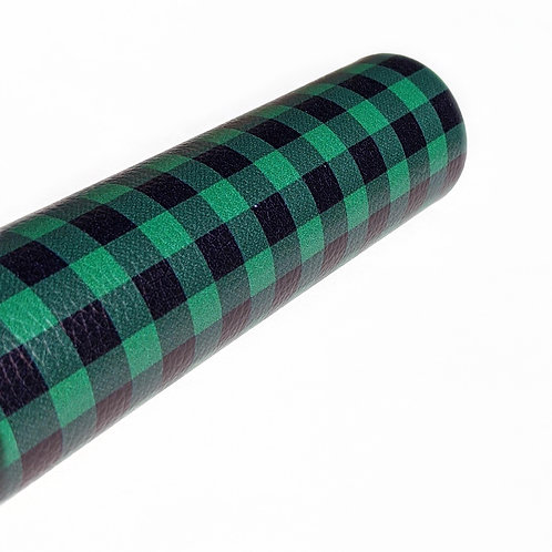 Green and Black Plaid Faux Leather Sheets