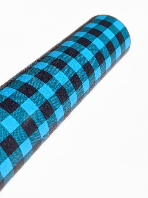 Teal and Black Plaid Faux Leather Sheets