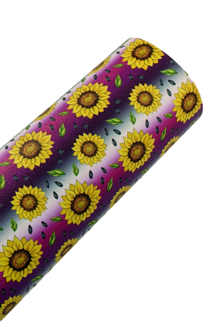 Sunflowers with Purple, Pinkand White Ombre Stripes Faux Leather Fabric