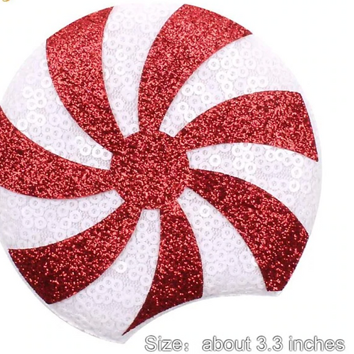 "3.25"" Sequin Peppermint Pattern Mouse Ears"