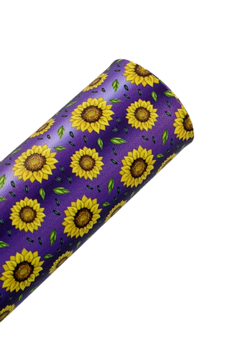 Sunflowers with Purple and White Ombre Stripes Faux Leather Fabric