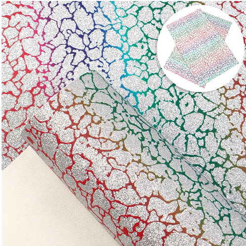 Fine Glitter Rainbow Crackle print Faux Leather Sheets