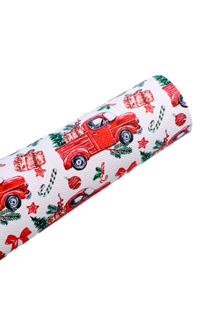 Christmas Truck Faux Leather Fabric Sheets