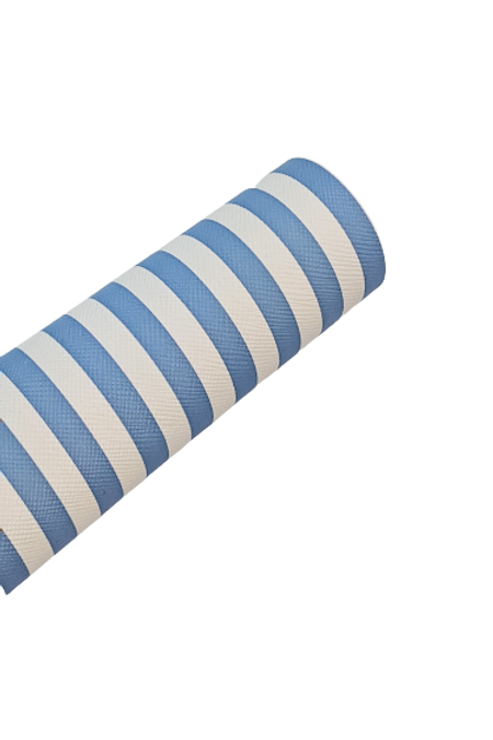White and Light Blue Stripes Faux Leather Fabric