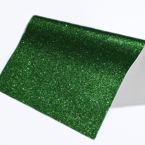 Green Fine Glitter Faux Leather Sheets