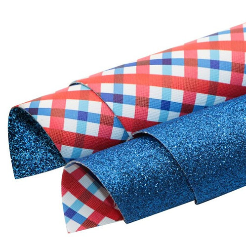Double Sided Plaid and Blue Glitter Leather Sheets