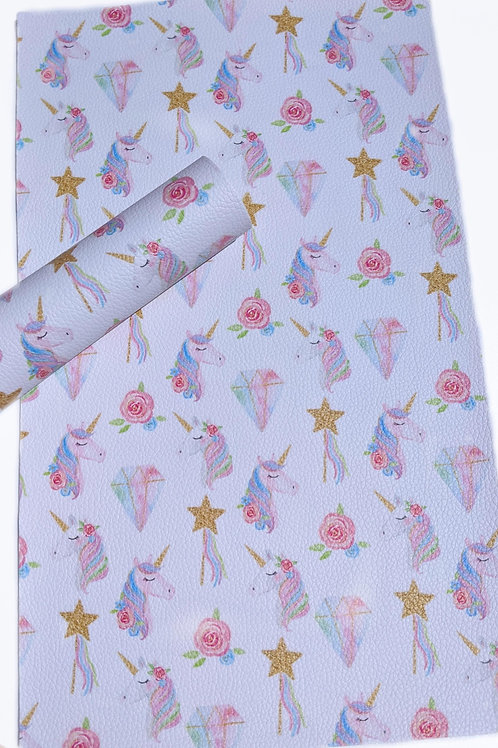Unicorn and Diamonds Faux Leather Sheets