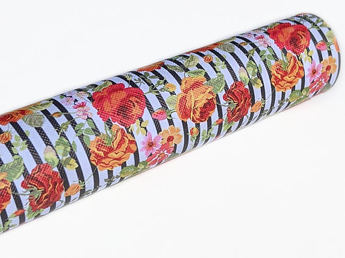 Roses with Stripe Background Faux Leather Sheets