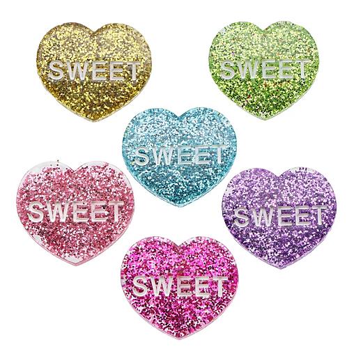 Glitter Sweetheart Flat Back Resin  Embellishments