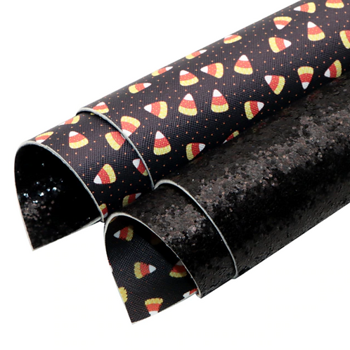 Double Sided Chunky Black Glitter and Candy Corn Leather Sheets