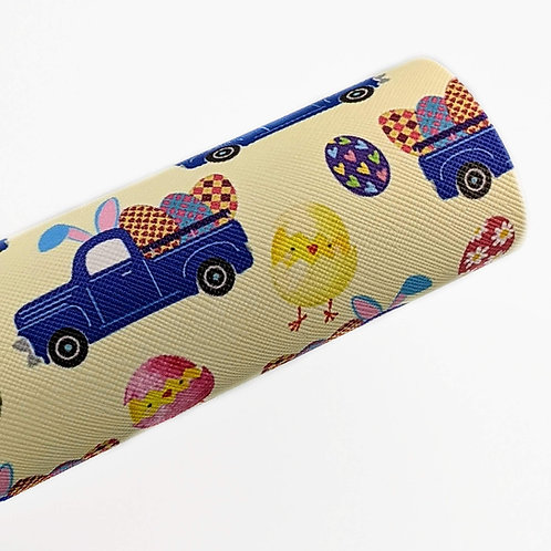 Little Blue Easter Truck Faux Leather Sheets