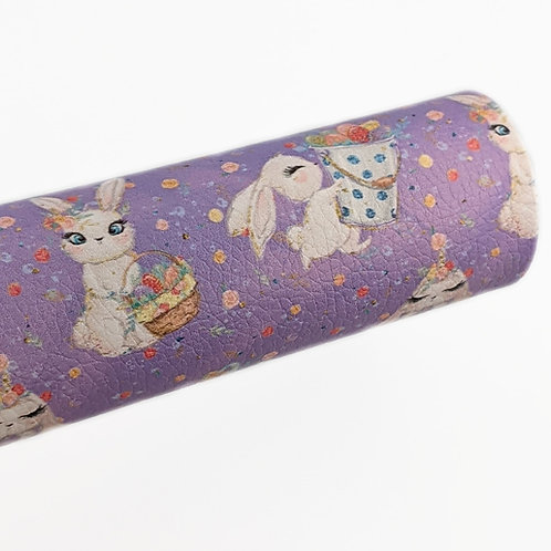 Bunnies with baskets Purple Background Faux Leather Sheets