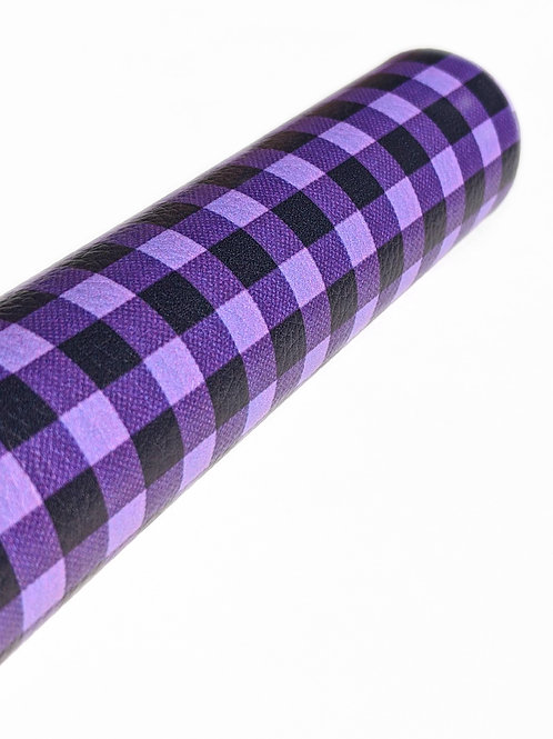 Purple and Black Plaid Faux Leather Sheets