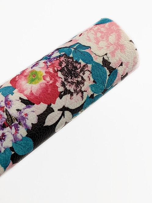 Floral Black Background Leather Sheets