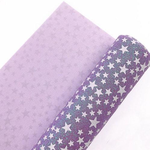 Purple Glow in the Dark Stars Fine Glitter Fabric Sheets