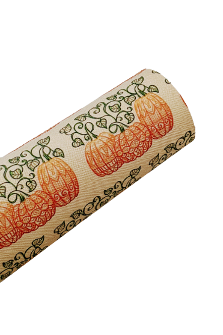 Decorative Swirl Pumpkin Faux Leather Sheets