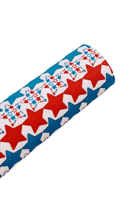 Red, White and Blue Stars Faux Leather Sheets
