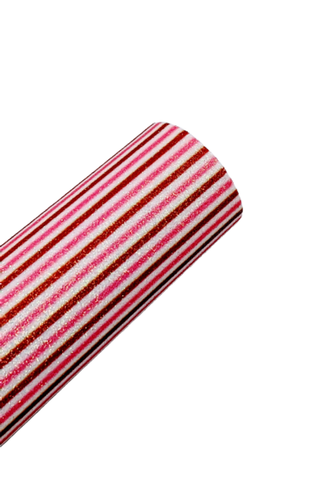 Red and Pink Stripe Fine Glitter Faux Leather