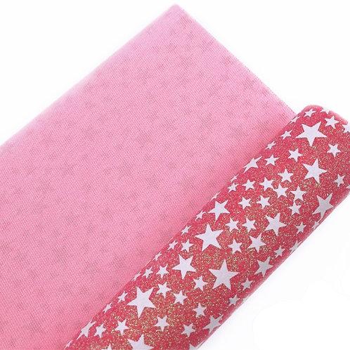 Pink Glow in the Dark Stars Fine Glitter Fabric Sheets