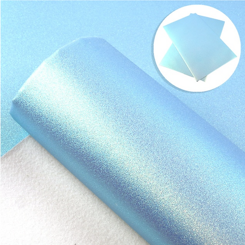 Iridescent Light Blue Smooth Glitter Faux Leather Sheets