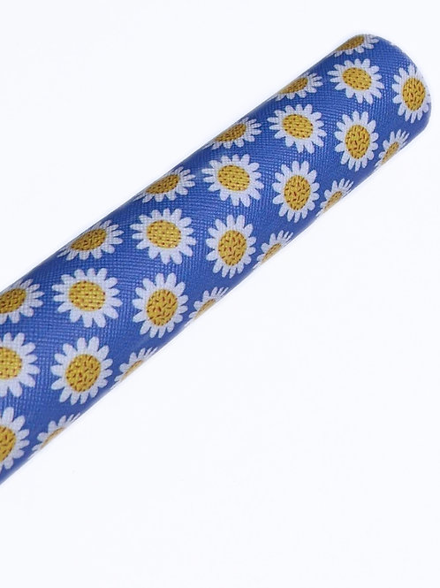 Daisy Blue Background Faux Leather Sheets