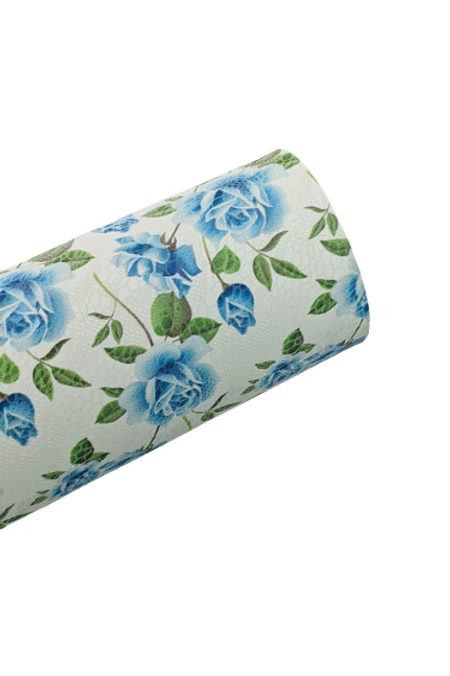 Blue Roses Faux Leather Fabric Sheets