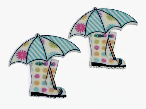 Rain boots and Umbrella Flat Back Planar Resin Embellishments