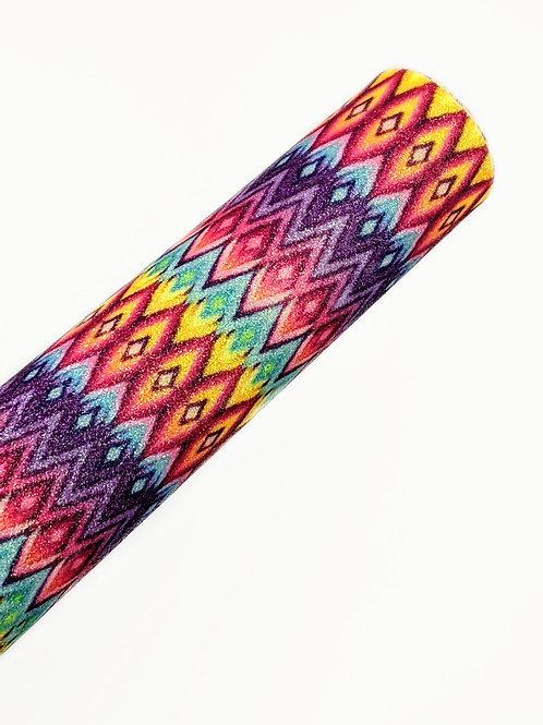Multi-Colored Diamonds Fine Glitter Faux Leather Sheets