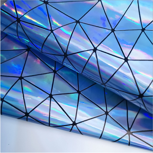 Blue Holographic Geometric Fabric Leather Sheets