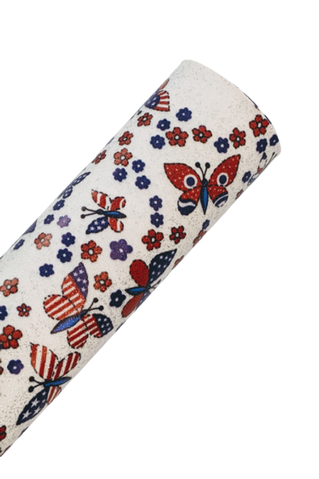 4th Of July Butterflies Smooth Glitter Faux Leather Sheets