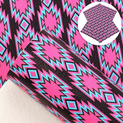 Pink and Black Geometric Design Leather Sheets