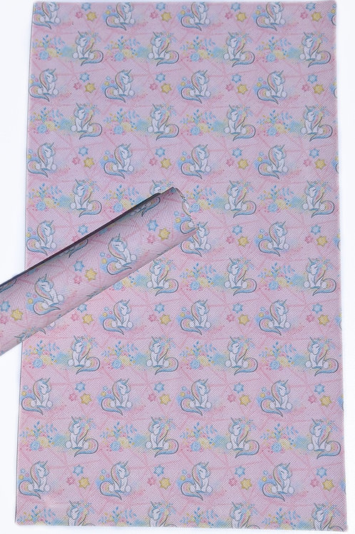 Pastel Unicorn Pink Background Faux Leather Sheets