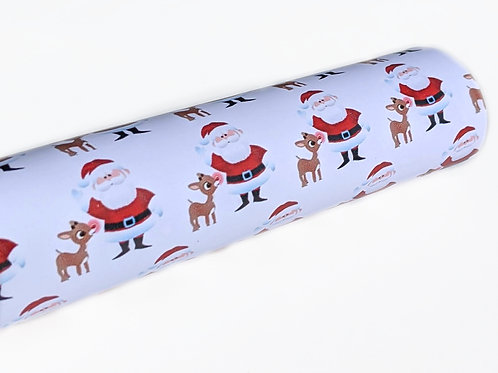 Santa and Rudolph Christmas Faux Leather Sheets
