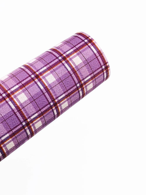 Purple and White Plaid Faux Leather Sheets