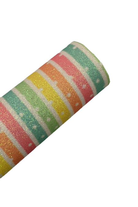 Pastel Stripes with Polka Dots Fine Glitter Faux Leather