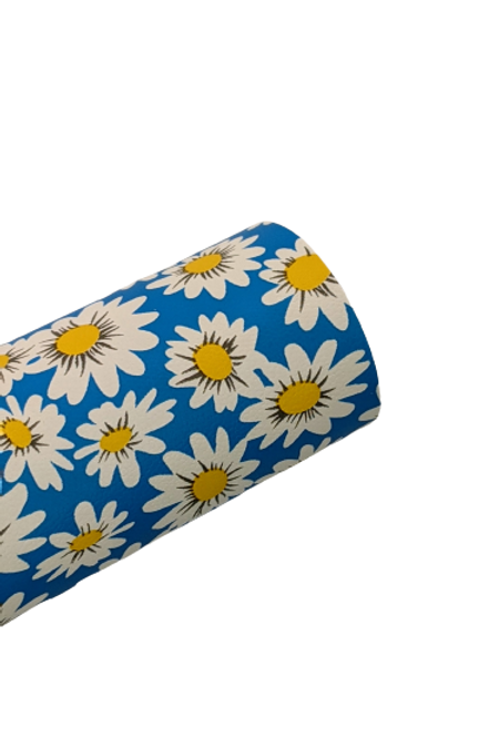 Daisy Blue Background Faux Leather Fabric Sheets