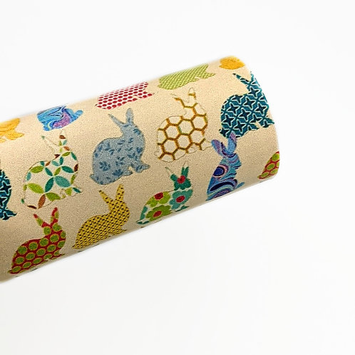 Colorful Patterned Rabbits  Faux Leather Sheets