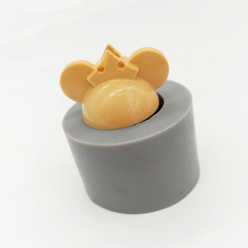 Mouse with Crown Straw Topper Silicone Mold
