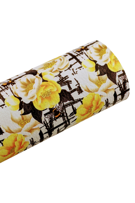 Bees and Flowers Faux Leather Sheets