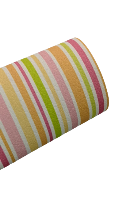 Summer Stripes Faux Leather Fabric Sheets
