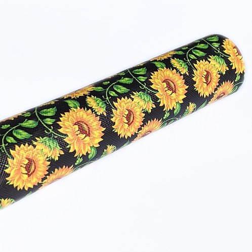 Sunflower Black Background Faux Leather Sheets