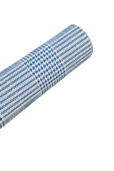 Light Blue Plaid Houndstooth Faux Leather Fabric