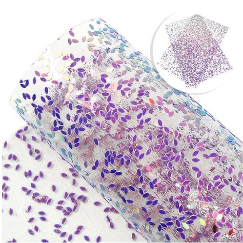 Translucent Jelly Sheet with Purple Confetti/Glitter Dots