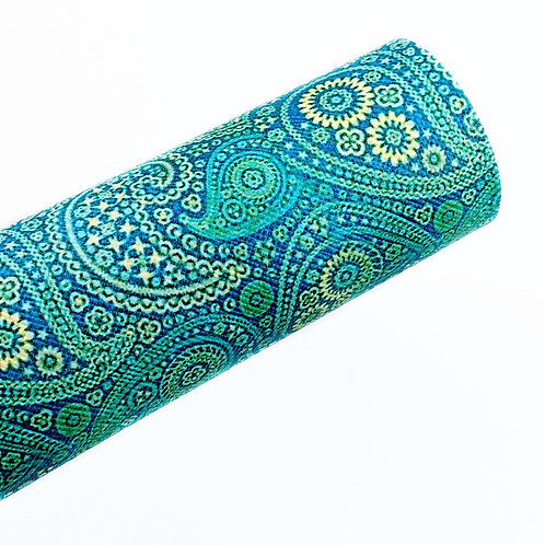 Green/Blue Paisley Faux Leather Sheets